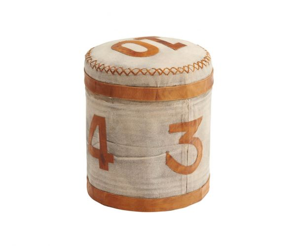 Indian Hub Retro Canvas and Leather Stool