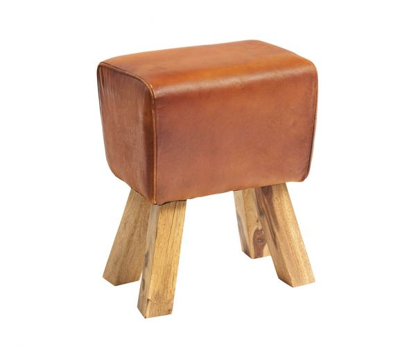 Indian Hub Turned Buck Genuine Leather Stool