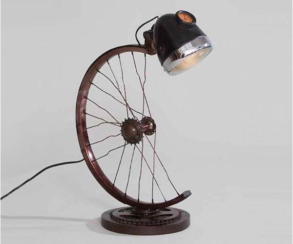 Indian Hub Half Cycle Wheel Lamp Table