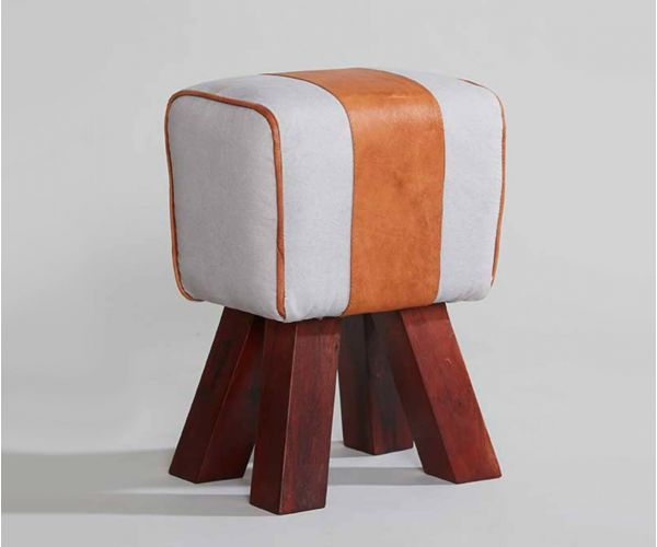 Indian Hub Canvas and Leather Stool
