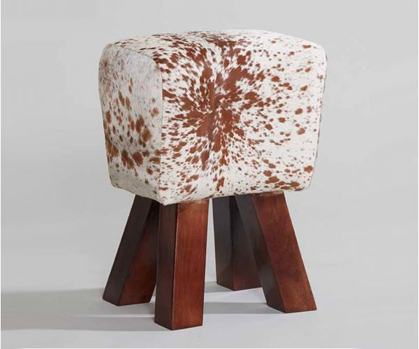 Indian Hub Cowhide Natural Stool