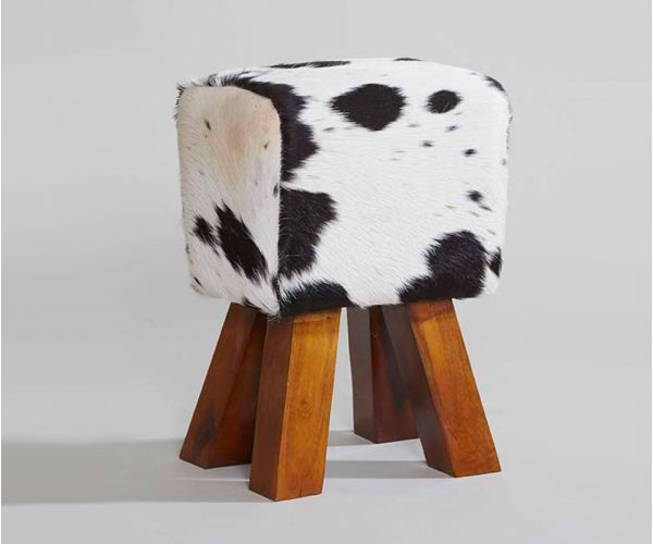 Indian Hub Cowhide Dark Stool