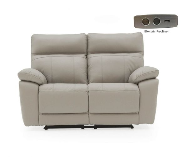 Vida Living Positano Light Grey Leather Electric Recliner 2 Seater Sofa