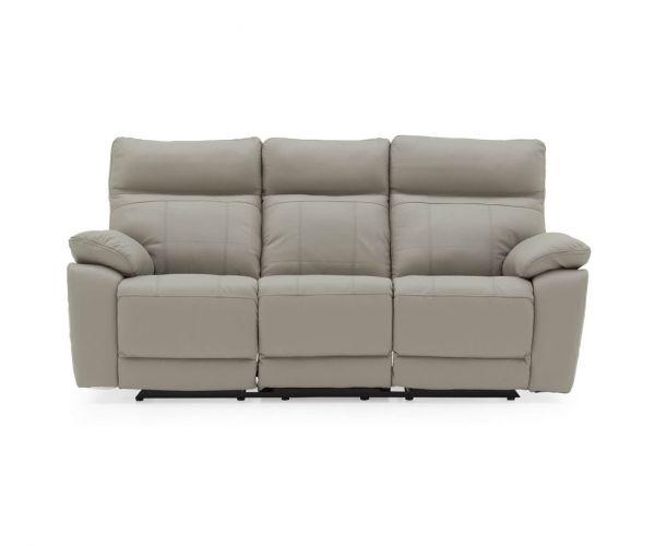 Vida Living Positano Light Grey Leather Electric Recliner 3 Seater Sofa