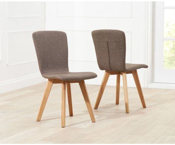 Mark Harris Tribeca Brown Fabric Dining Chair in Pair