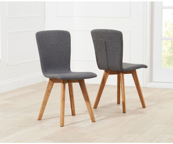 Mark Harris Tribeca Charcoal Fabric Dining Chair in Pair