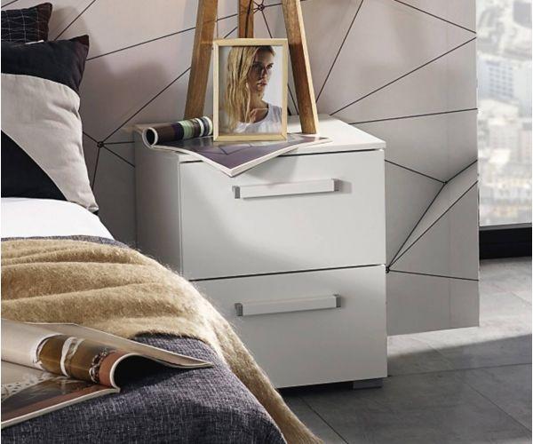 Rauch Aldono Royal Walnut Colour Carcase with White High Polish 2 Drawer Bedside Table- W 50cm