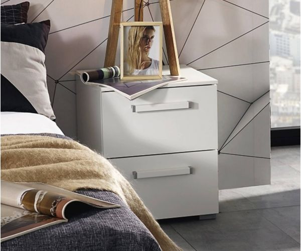 Rauch Aldono Alpine White Carcase with White High Polish 2 Drawer Bedside Table- W 50cm