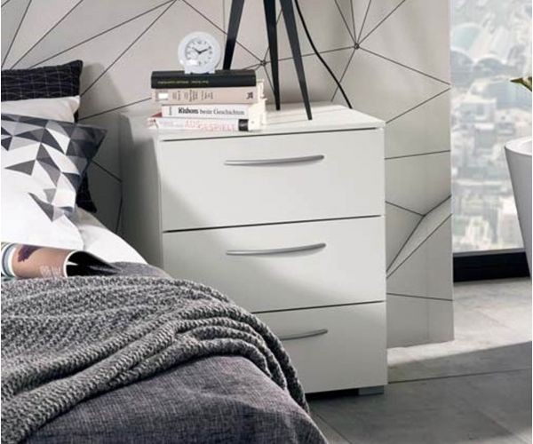 Rauch Aldono Alpine White Carcase with White High Polish 3 Drawer Bedside Table