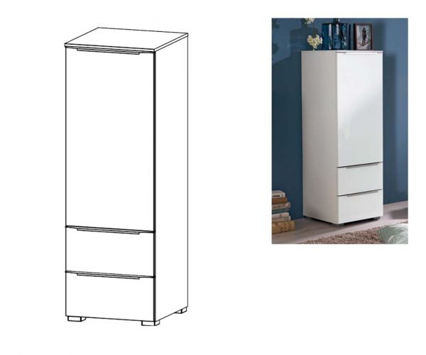 Rauch Aldono Deluxe Royal Walnut Carcase with Crystal White Glass Front 1 Right Door 2 Drawer Chest- W 40cm