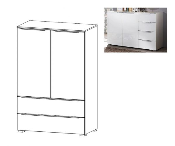 Rauch Aldono Deluxe Royal Walnut Carcase with Crystal White Glass Front 2 Door 2 Drawer Chest- W 80cm