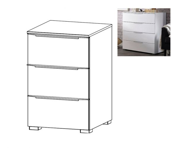 Rauch Aldono Deluxe Sonoma Oak Carcase with Crystal White Glass Front 3 Drawer Bedside Table- H 61cm