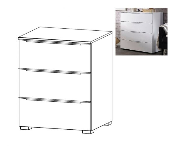 Rauch Aldono Deluxe Graphite Carcase with Silk Grey Glass Front 3 Drawer Bedside Table- W 50cm