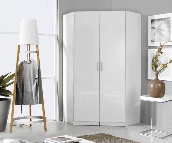 Rauch Celle-Extra Sanremo Oak Light Colour with High Gloss Effect Grey 2 Door 2 Mirror Corner Wardrobe (W117cm)