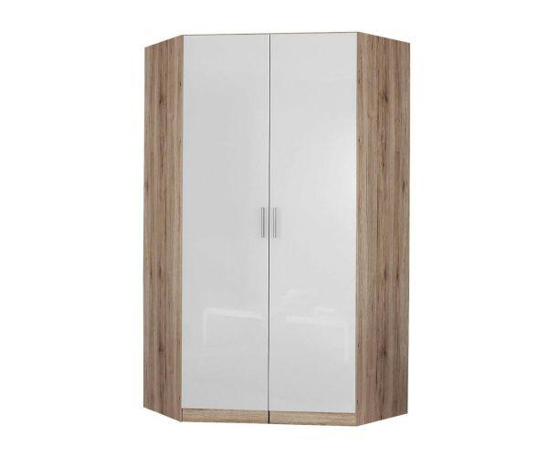 Rauch Celle-Extra Sonoma Oak Colour with High Gloss Effect Grey 2 Door 2 Mirror Corner Wardrobe (W117cm)