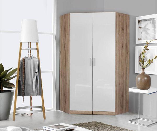 Rauch Celle-Extra Sonoma Oak Colour with High Gloss Soft Grey 2 Door 2 Mirror Corner Wardrobe (W117cm)