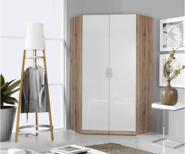 Rauch Celle-Extra Sanremo Oak Light Colour with High Gloss Soft Grey 2 Door 2 Mirror Corner Wardrobe (W117cm)