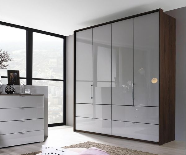 Rauch Erimo Royal Walnut Colour Carcase with Silk Grey Glass Front 5 Door 1 Mirror Combi Wardrobe with 9 Drawers(W254cm)
