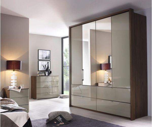 Rauch Erimo Graphite Carcase with Basalt Glass Front 5 Door 1 Mirror Combi Wardrobe with 3 Drawer(W254cm)