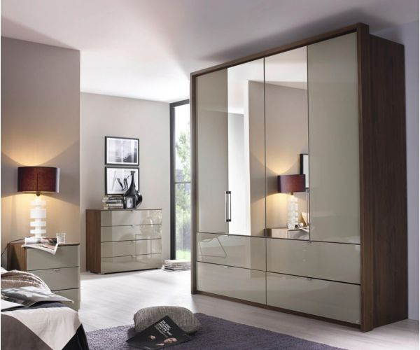 Rauch Erimo Royal Walnut Colour Carcase with Crystal White Glass Front 5 Door 1 Mirror Combi Wardrobe with 9 Drawers(W254cm)