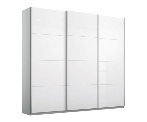 Rauch Kulmbach White Glass Front 3 Sliding Glass Door Wardrobe with Aluminum Colour Handle Strips(W271cm)