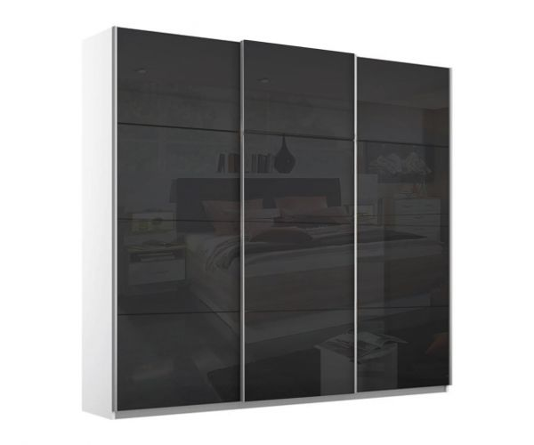 Rauch Kulmbach Black Glass Front 3 Sliding Glass Door Wardrobe with Aluminum Colour Handle Strips(W271cm)