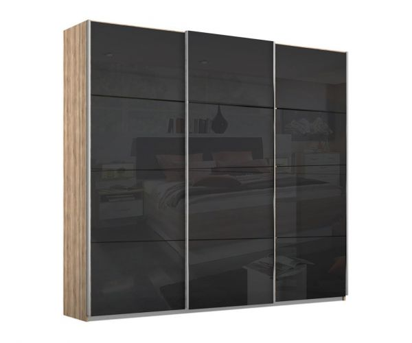 Rauch Kulmbach Black Glass Front 3 Sliding Glass Door Wardrobe with Chrome Colour Handle Strips(W271cm)