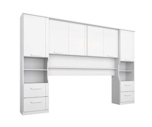 Rauch Rivera Alpine White Overbed for Beds with Wall Panel and Book Storage (W 140cm x 190cm)