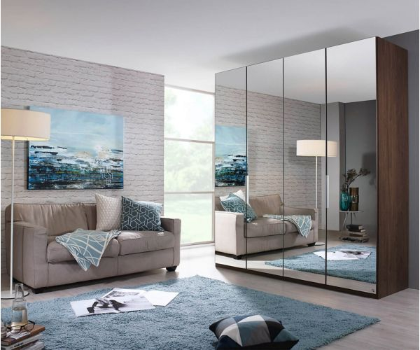 Rauch Zenaya Silk Grey 4 Mirror Door Wardrobe