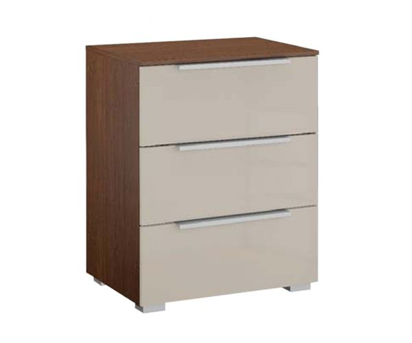 Rauch Zenaya Royal Walnut Colour Carcase and Cappuccino High Gloss Front 3 Drawer Bedside Cabinet