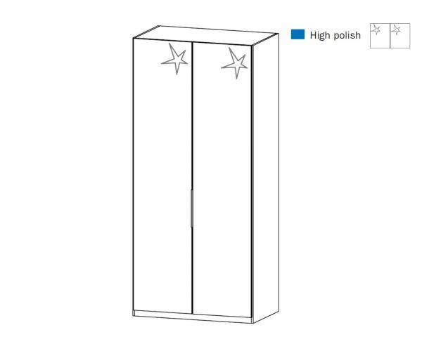 Rauch Zenaya Silk Grey and White High Gloss Front 2 Door Wardrobe