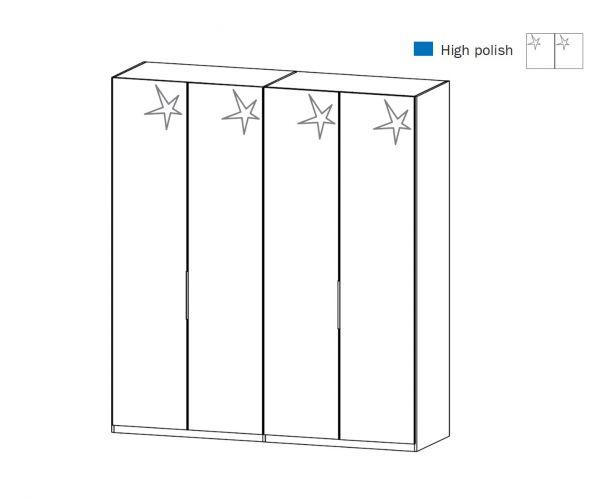Rauch Zenaya Silk Grey and White High Gloss Front 4 Door Wardrobe