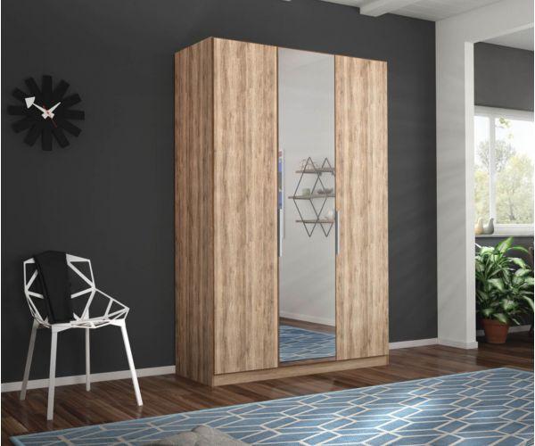 Rauch Zenaya Sanremo Oak Light Colour 3 Door 1 Mirror Wardrobe