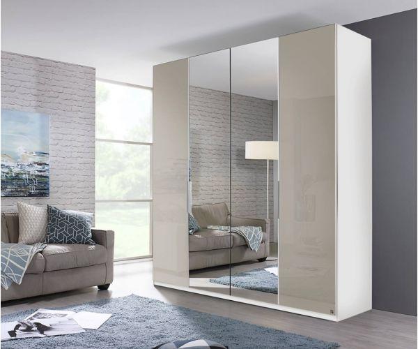 Rauch Zenaya Royal Walnut Colour and White High Gloss Front 4 Door 2 Mirror Wardrobe