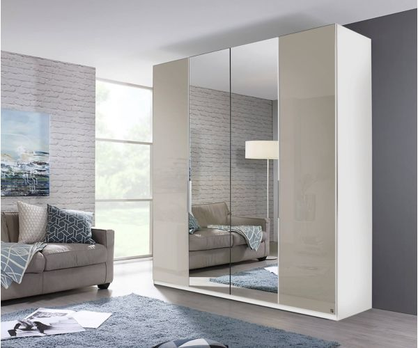 Rauch Zenaya Silk Grey and White High Gloss Front 4 Door 2 Mirror Wardrobe