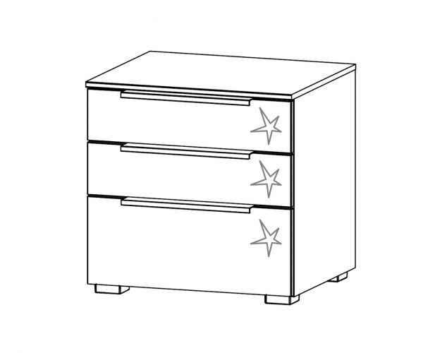 Rauch Zenaya Alpine White Carcase and White High Gloss Front 3 Drawer Bedside Cabinet