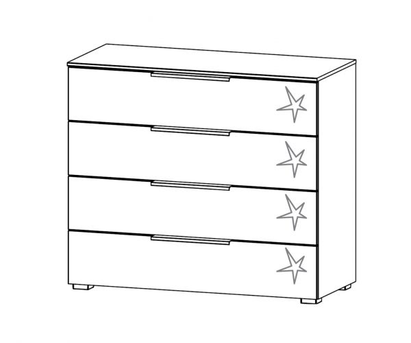 Rauch Zenaya Sanremo Oak Light Colour Carcase with White High Gloss Front Wide 4 Drawer Chest (W80cm)
