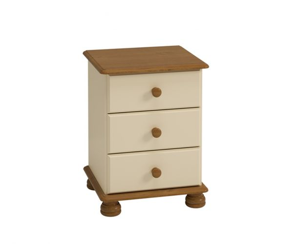 Steens Richmond Cream and Pine 3 Drawer Bedside Cabinet