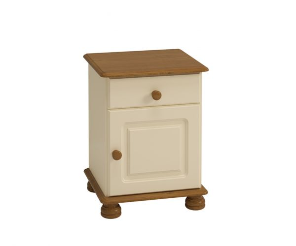 Steens Richmond Cream and Pine 1 Drawer 1 Door Bedside Cabinet