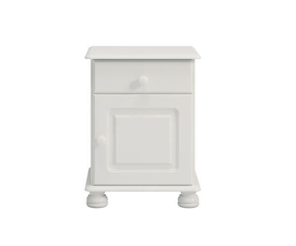 Steens Richmond White 1 Drawer 1 Door Bedside Cabinet