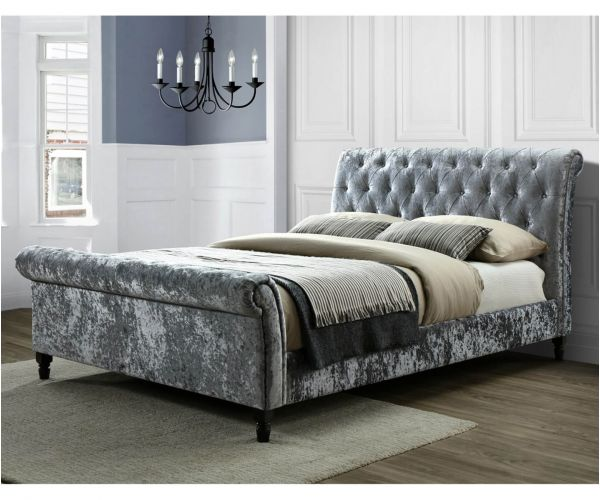 Sareer Richmond Silver Velvet Bed Frame