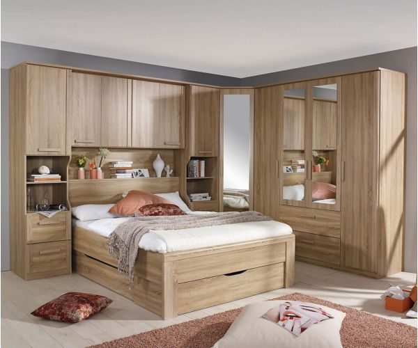 Rauch Rivera Sonoma Oak Overbed for Beds with Wall Panel and Book Storage for Divan Bed (W 160cm x 200cm)