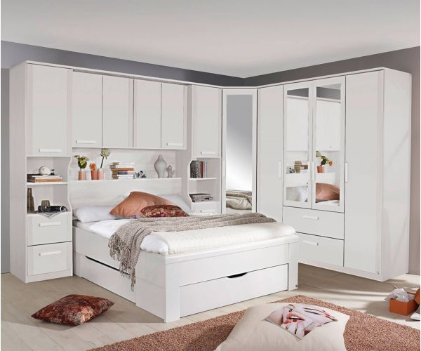 Rauch Rivera Alpine White Overbed for Beds with Wall Panel and Book Storage for Divan Beds (W 140cm x 190cm)