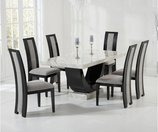 Mark Harris Rivilino Cream and Black Constituted Marble Dining Table with 6 Chairs