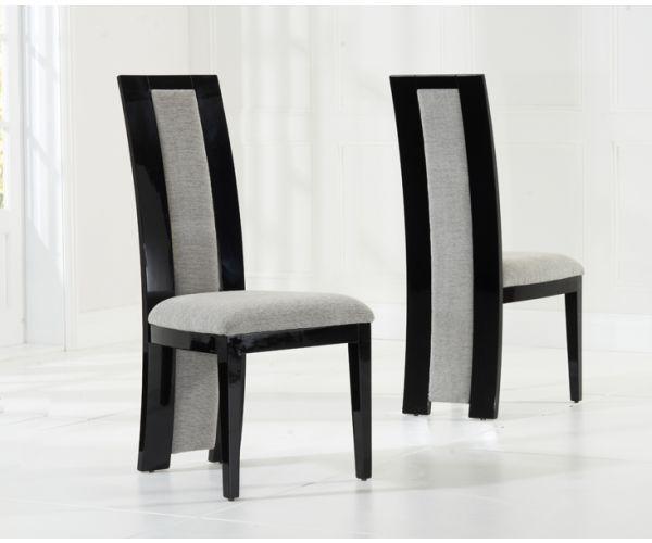 Mark Harris Rivilino Black High Gloss Dining Chair in Pair