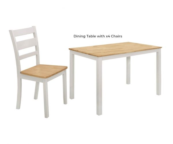 Vida Living Robin Grey Painted Rectangular Dining Table with 4 Chairs