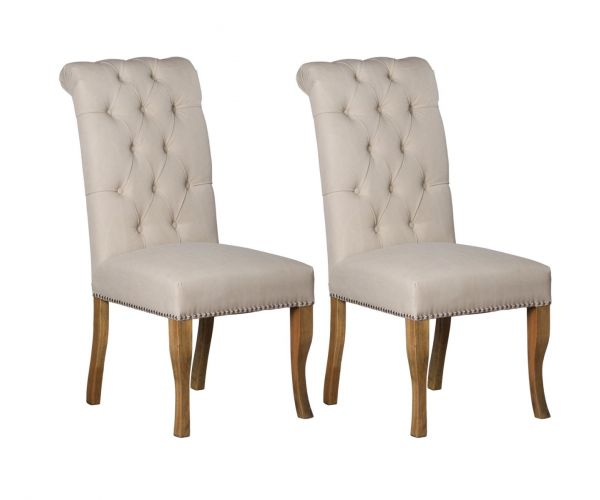 Roll Top with Ring Pull Dining Chair in Pair