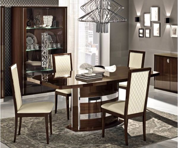 Camel Group Roma Walnut High Gloss Extension Dining Table with 4 Chair