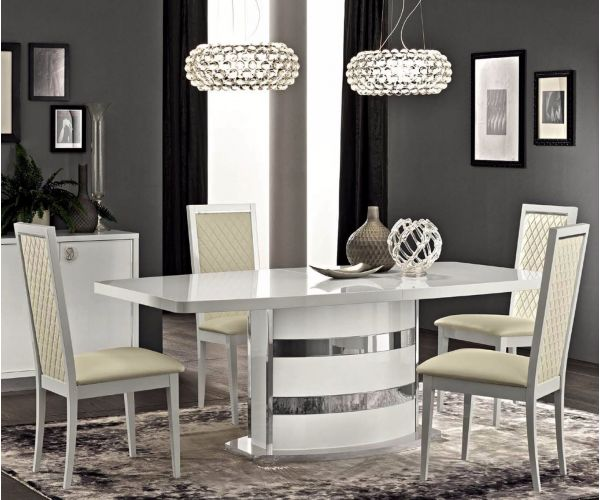 Camel Group Roma White High Gloss Extension Dining Table with 4 Chair