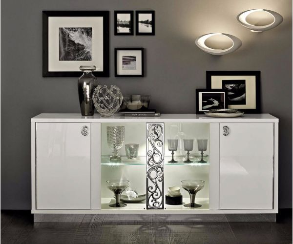Camel Group Roma White High Gloss 4 Door Buffet with Glass Door